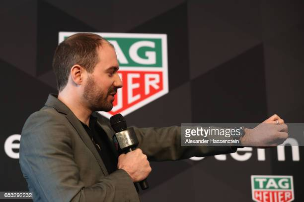 David Singleton VicePresident of AndroidEngineering Google talks to the media duirng a press conference at the international launch of the TAG Heuer...