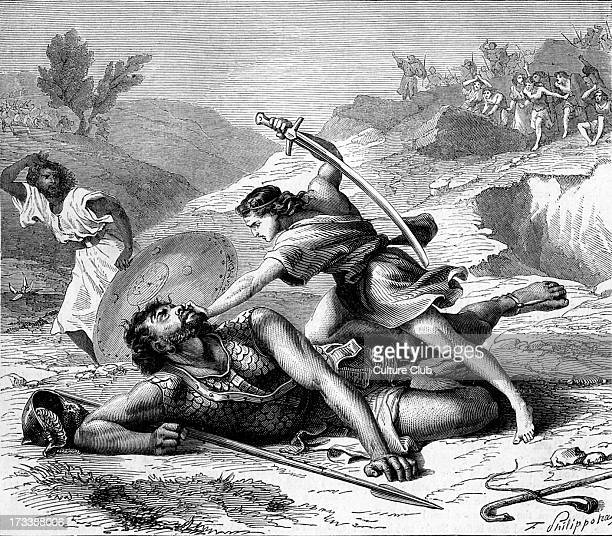 David slaying Goliath Bible Samuel XVII 51 ' Therefore David ran and stood upon the Philistine and took his sword and drew it out of the sheath...