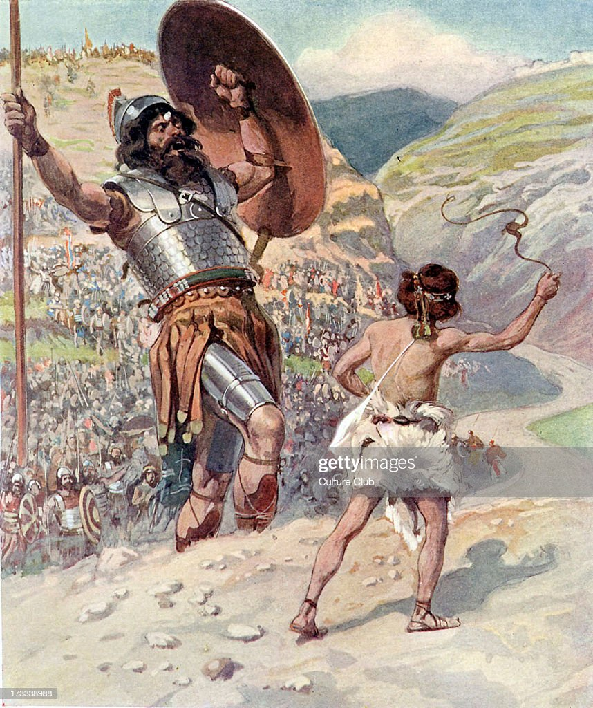 David slings the stone by J James Tissot Illustration to book of Samuel 1749 'And David put his hand in his bag and took thence a stone and slang it...