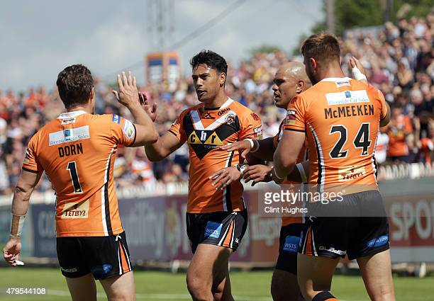 David Solomona of Castleford Tigers celebrates after he scores the first try for his side during the First Utility Super League match between...