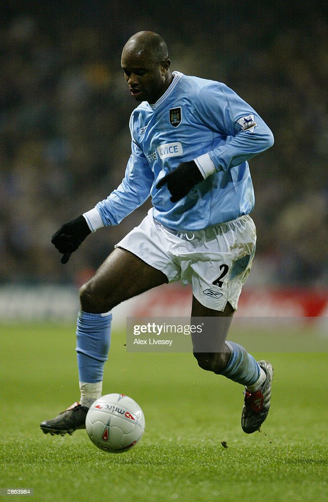 David Sommeil of Manchester City running with the ball during the FA Cup third round match between Manchester City and Leicester City on January 3, 2004 at the City of Manchester Stadium in Manchester, England. The match finished in a 2-2 draw.