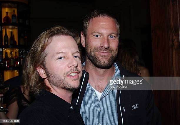 David Spade Aaron Eckhart during Grand ReOpening of Le Dome at Le Dome Restaurant in West Hollywood California United States