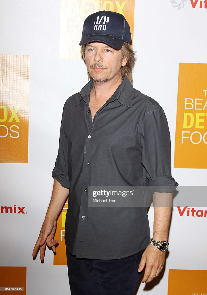 David Spade arrives at the celebrity nutritonist Kimberly Snyder hosts book launch party for 'The Beauty Detox Foods' held at Smashbox West Hollywood on March 26, 2013 in West Hollywood, California.