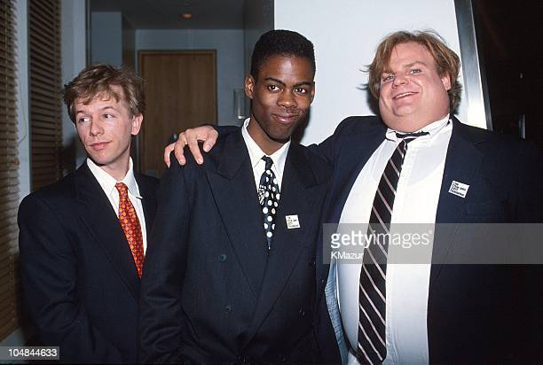 David Spade Chris Rock and Chris Farley during 65th Annual Academy Awards Elton John AIDS Foundation Party in Los Angeles California United States