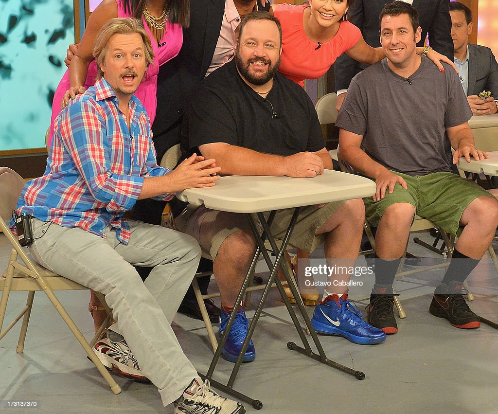 <a gi-track='captionPersonalityLinkClicked' href=/galleries/search?phrase=David+Spade&family=editorial&specificpeople=209074 ng-click='$event.stopPropagation()'>David Spade</a>, Kevin James and <a gi-track='captionPersonalityLinkClicked' href=/galleries/search?phrase=Adam+Sandler&family=editorial&specificpeople=202205 ng-click='$event.stopPropagation()'>Adam Sandler</a> of 'Grown Ups 2' cast appears on Univisions 'Despierta America' to promote the movie at Univision Headquarters on July 8, 2013 in Miami, Florida.