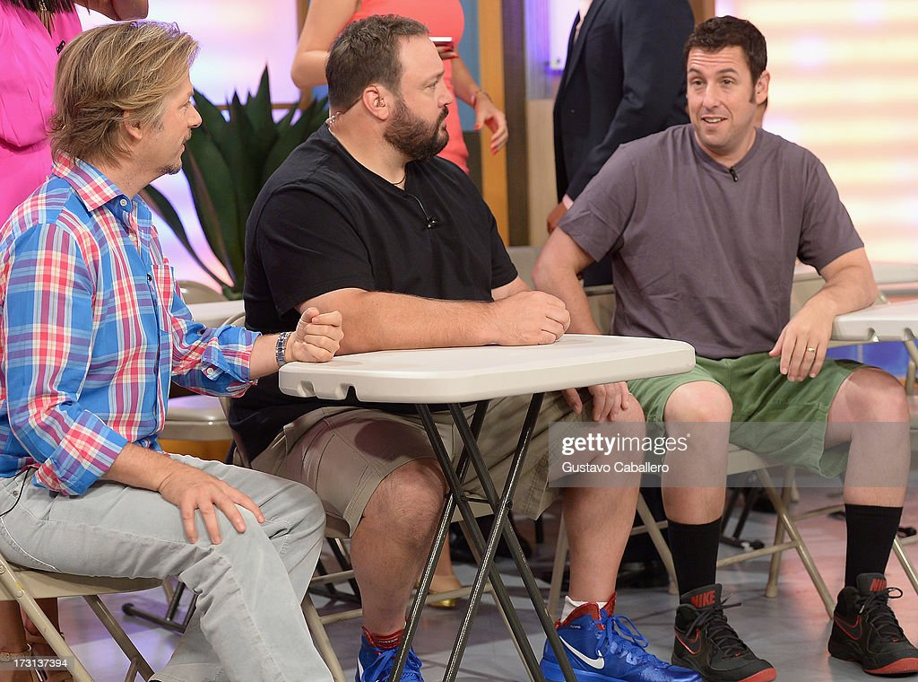 David Spade, Kevin James and Adam Sandler of 'Grown Ups 2' cast appears on Univisions 'Despierta America' to promote the movie at Univision Headquarters on July 8, 2013 in Miami, Florida.