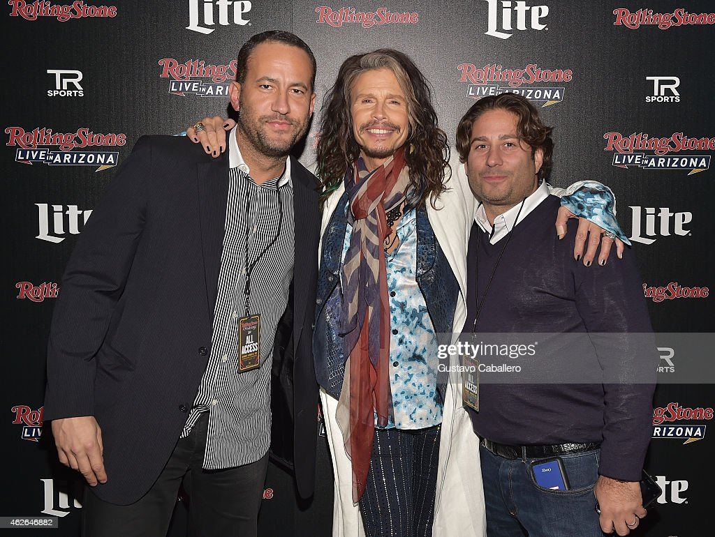 David Spencer, recording artist Steven Tyler of Aerosmith, and Mike Heller attend Rolling Stone LIVE Presented By Miller Lite at The Venue of Scottsdale on January 31, 2015 in Scottsdale, Arizona.