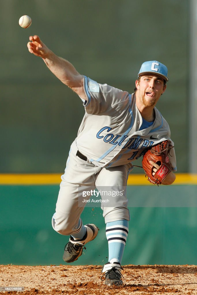 David Spinosa #15 of the Columbia Lions throws the ball against the Miami Hurricanes on March 19, 2013 at Alex Rodriguez Park at Mark Light Field in Coral Gables, Florida. Miami defeated Columbia 9-6.