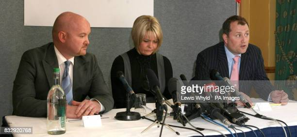 David Standard Natallie Evans and Solicitor Muiris Lions during a press conference at a hotel in London after Ms Evans lost her fight at the European...