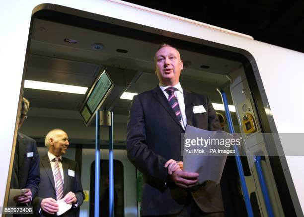 David Statham Managing Director of First Capital Connect during the unveiling of a fullscale mockup of the nextgeneration Thameslink train delivered...