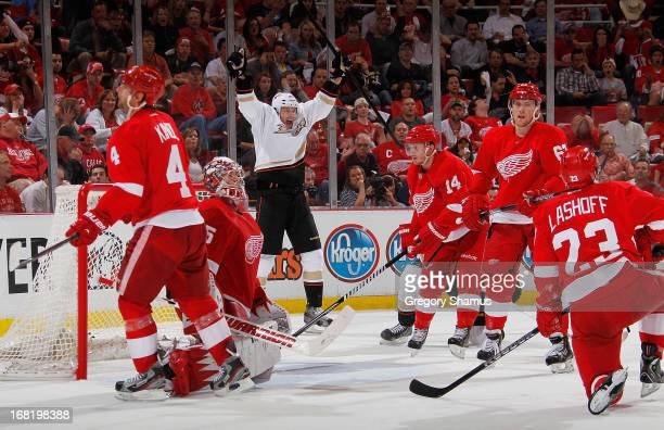 David Steckel of the Anaheim Ducks celebrates a third period goal while playing the Detroit Red Wings in Game Four of the Western Conference...