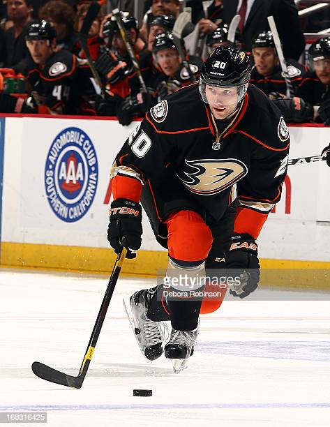 David Steckel of the Anaheim Ducks drives the puck against the Phoenix Coyotes during the game on April 27 2013 at Honda Center in Anaheim California
