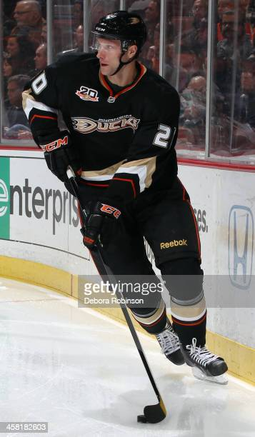 David Steckel of the Anaheim Ducks handles the puck during the game against the New York Islanders on December 9 2013 at Honda Center in Anaheim...