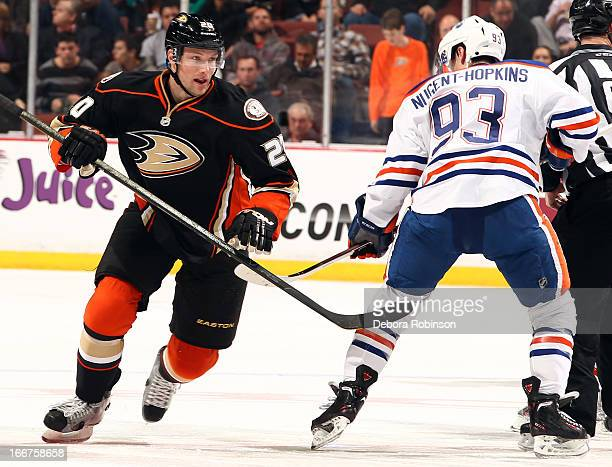 David Steckel of the Anaheim Ducks skates against Ryan NugentHopkins of the Edmonton Oilers on April 8 2013 at Honda Center in Anaheim California