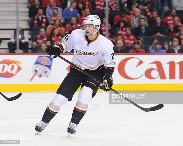 David Steckel of the Anaheim Ducks skates against the Calgary Flames during an NHL game at Scotiabank Saddledome on April 19 2013 in Calgary Alberta...