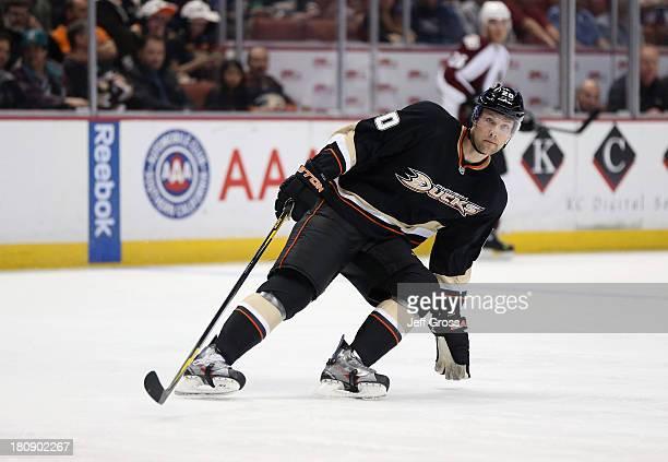 David Steckel of the Anaheim Ducks skates against the Colorado Avalanche at Honda Center on April 10 2013 in Anaheim California