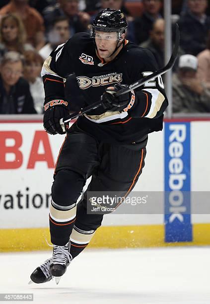 David Steckel of the Anaheim Ducks skates against the Minnesota Wild at Honda Center on December 11 2013 in Anaheim California