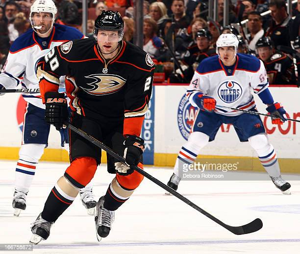 David Steckel of the Anaheim Ducks skates during the game against the Edmonton Oilers on April 8 2013 at Honda Center in Anaheim California