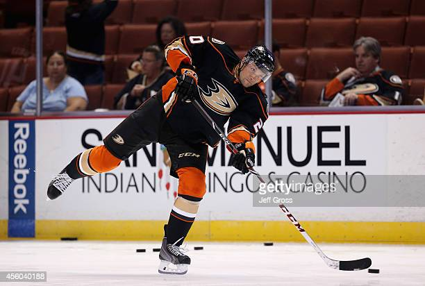 David Steckel of the Anaheim Ducks skates prior to the start of the game against the Arizona Coyotes at Honda Center on September 23 2014 in Anaheim...