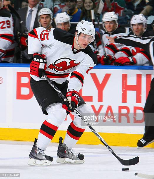 David Steckel of the New Jersey Devils skates against the Buffalo Sabres at HSBC Arena on March 26 2011 in Buffalo New York The Buffalo won 20