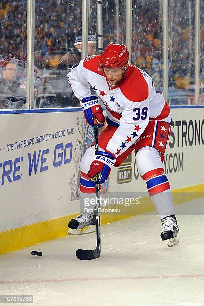 David Steckel of the Washington Capitals in action against the Pittsburgh Penguins during the 2011 NHL Bridgestone Winter Classic at Heinz Field on...