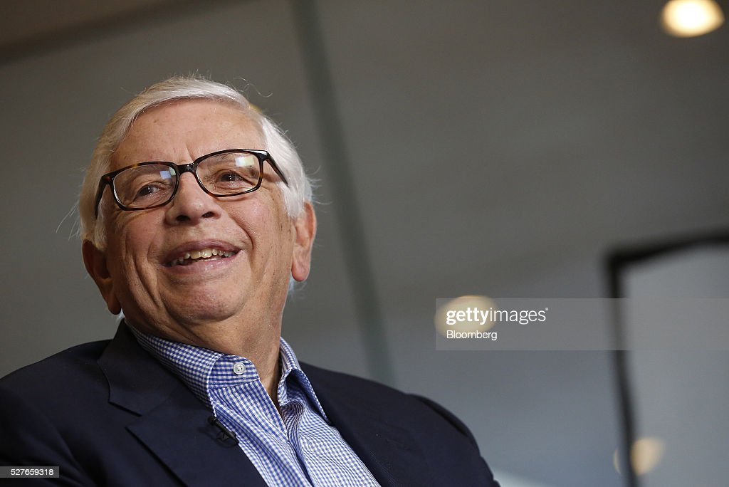 <a gi-track='captionPersonalityLinkClicked' href=/galleries/search?phrase=David+Stern&family=editorial&specificpeople=206848 ng-click='$event.stopPropagation()'>David Stern</a>, commissioner emeritus of the National Basketball Association (NBA), smiles during a Bloomberg Television interview at the annual Milken Institute Global Conference in Beverly Hills, California, U.S., on Tuesday, May 3, 2016. The conference gathers attendees to explore solutions to today's most pressing challenges in financial markets, industry sectors, health, government and education. Photographer: Patrick T. Fallon/Bloomberg via Getty Images