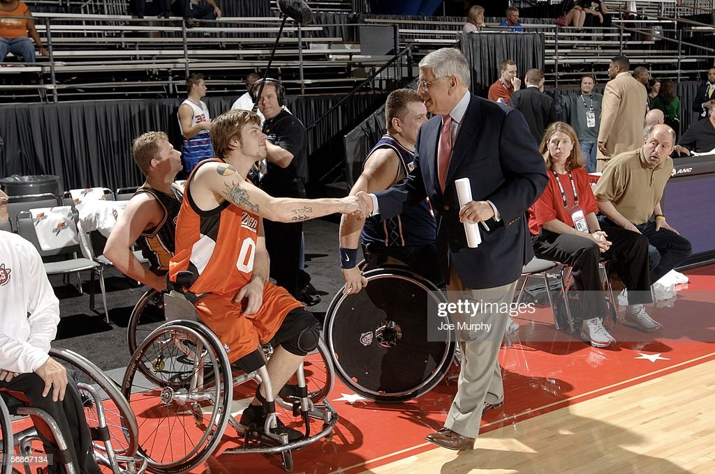 David Stern commissioner of the NBA greets NWBA AllStars during the NWBA AllStar Wheelchair Classic at NBA Jam Session presented by Nokia on Center...