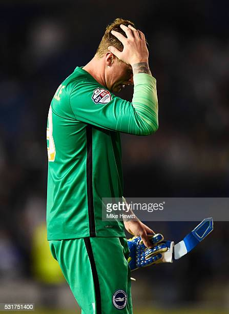 David Stockdale of Brighton and Hove Albion looks dejected after the Sky Bet Championship Play Off semi final second leg match between Brighton Hove...