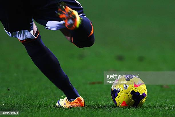 David Stockdale the Fulham goalkeeper kicks the Nike Incyte match ball upfield during the Barclays Premier League match between Hull City and Fulham...