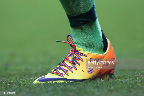 David Stockdale the Fulham goalkeeper wears rainbowcoloured shoe laces as part of a campaign against homophobia in football during the Barclays...