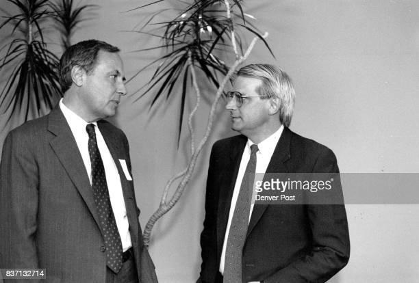 David Stockman left former Director of OMB talks with Colorado Harvard Business School Club Economic Forum Chairman Gordon Rockafellow before...