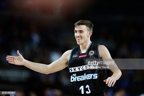 David Stockton of the Breakers celebrates during the round 10 NBL match between the New Zealand Breakers and the Brisbane Bullets at Vector Arena on...