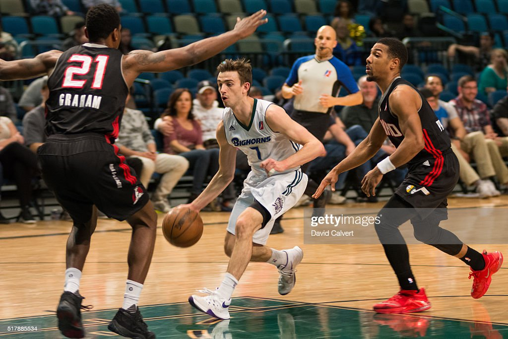 David Stockton of the Reno Bighorns handles the ball against the Idaho Stampede at the Reno Events Center on March 26 2016 in Reno Nevada NOTE TO...