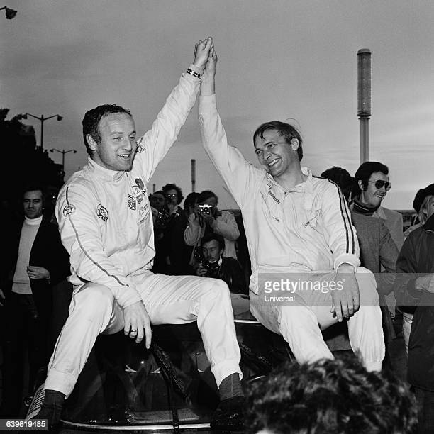 David Stone and Ove Andersson celebrate after winning the 1971 Monte Carlo Rally