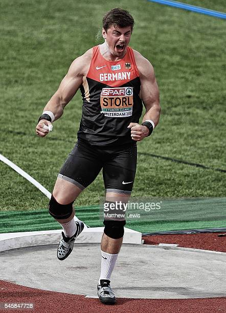 David Storl of Germany celebrates a throw during the Mens Shot Putt Final during day five of the 23rd European Athletics Championships at Olympic...