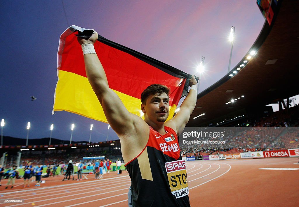 David Storl of Germany celebrates as he wins gold in the Men's Shot Put final during day one of the 22nd European Athletics Championships at Stadium Letzigrund on August 12, 2014 in Zurich, Switzerland.