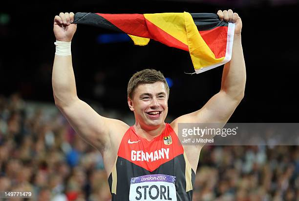 David Storl of Germany celebrates his silver medal in the Men's Shot Put Final on Day 7 of the London 2012 Olympic Games at Olympic Stadium on August...