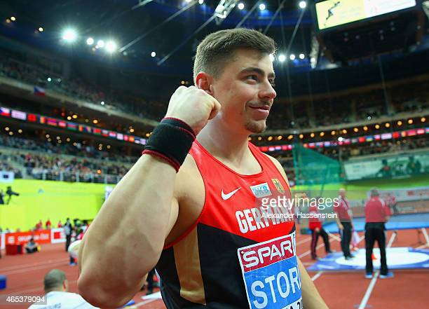 David Storl of Germany celebrates victory in the Men's Shot Put Final during day one of the 2015 European Athletics Indoor Championships at O2 Arena...