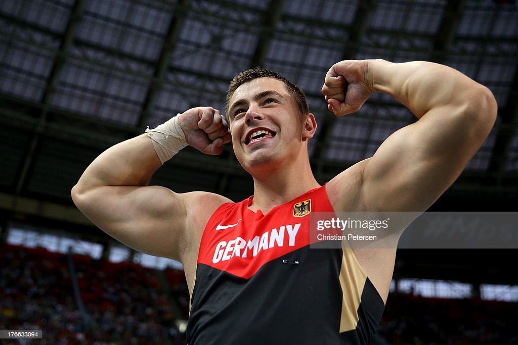 David Storl of Germany celebrates winning gold in the Men's Shot Put final during Day Seven of the 14th IAAF World Athletics Championships Moscow 2013 at Luzhniki Stadium at Luzhniki Stadium on August 16, 2013 in Moscow, Russia.