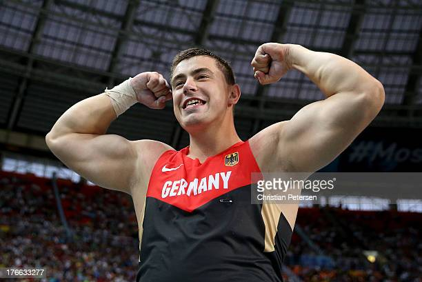 David Storl of Germany celebrates winning gold in the Men's Shot Put final during Day Seven of the 14th IAAF World Athletics Championships Moscow...