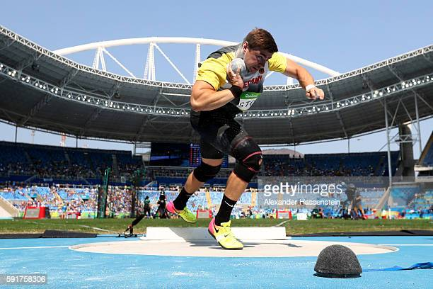 David Storl of Germany competes in Men's Shot Put Qualifying on Day 13 of the Rio 2016 Olympic Games at the Olympic Stadium on August 18 2016 in Rio...