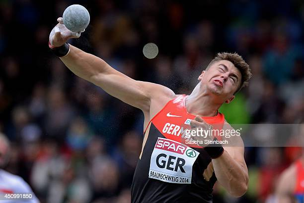 David Storl of Germany competes in the Men's Shot Put during first day of the European Athletics Team Championship at Eintracht Stadion on June 21...