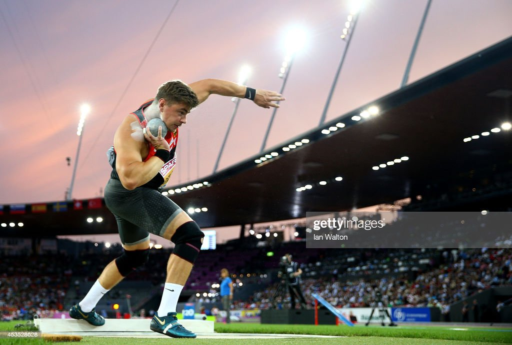 <a gi-track='captionPersonalityLinkClicked' href=/galleries/search?phrase=David+Storl&family=editorial&specificpeople=4399215 ng-click='$event.stopPropagation()'>David Storl</a> of Germany competes in the Men's Shot Put final during day one of the 22nd European Athletics Championships at Stadium Letzigrund on August 12, 2014 in Zurich, Switzerland.