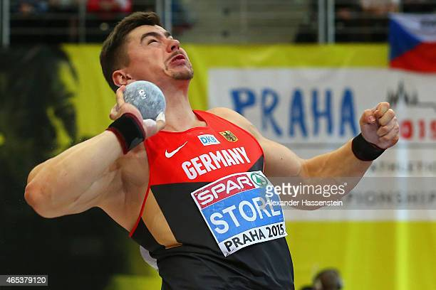 David Storl of Germany competes in the Men's Shot Put Final during day one of the 2015 European Athletics Indoor Championships at O2 Arena on March 6...