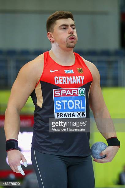 David Storl of Germany competes in the Men's Shot Put qualification during 2015 European Athletics Indoor Championships at O2 Arena on March 5 2015...