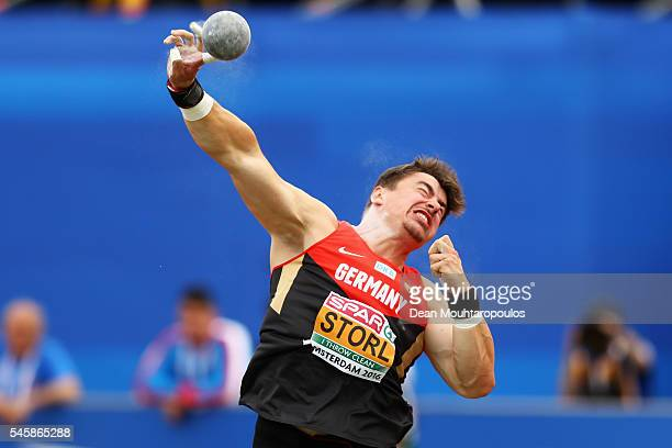 David Storl of Germany in action during the final of the mens shot put on day five of The 23rd European Athletics Championships at Olympic Stadium on...