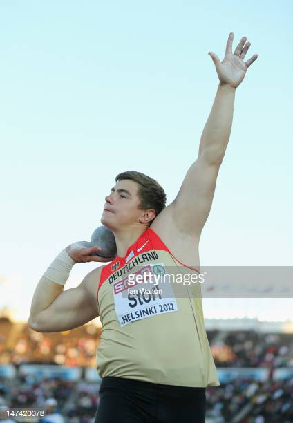 David Storl of Germany in action on his way to victory in the Men's Shot Put Final during day three of the 21st European Athletics Championships at...