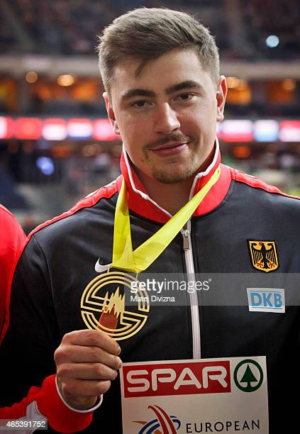 David Storl of Germany pictured with his gold medal after winning the Mens Shot Putt Final during day one of the 2015 European Athletics Indoor...