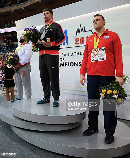 David Storl of Germany pictured with his gold medal Asmir Kolasinac of Serbia pictured with his silver medal and Ladislav Prasil of Czech Republic...