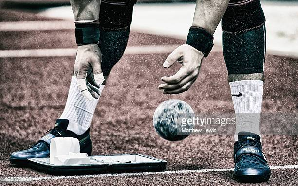 David Storl of Germany prepares for the Mens Shot Putt Qualification during the 2015 European Athletics Indoor Championships at The Old Town Hall on...